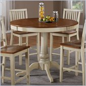 Steve Silver Company Candice Round Counter Height Dining Table in Oak and White