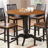 Steve Silver Company Candice Round Counter Height Dining Table in Oak and Black