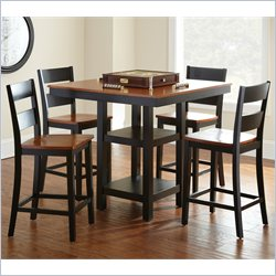 Steve Silver Company Connor Square Counter Height Dining Table 5 Piece Set in Black and Cherry
