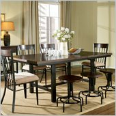 Steve Silver Company Crosby Rectangular Dining Table with Leaf in Black Metal and Espresso