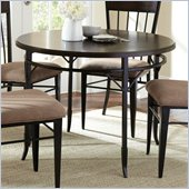 Steve Silver Company Martin Round Dining Table in Black Metal and Espresso Wood