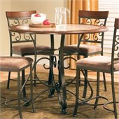 Steve Silver Company Thompson Round Counter Height Dining Table in Metal and Cherry