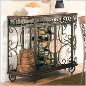 Steve Silver Company Thompson Wine Rack and Server in Metal and Cherry Finish