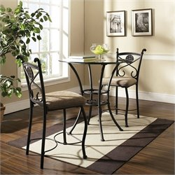Steve Silver Company Brookfield Round Glass Top Counter Height Dining Table in Dark Metal