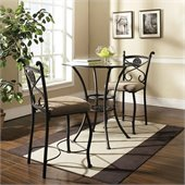 Steve Silver Company Brookfield Round Counter Dining Table in Dark Metal with Glass Top