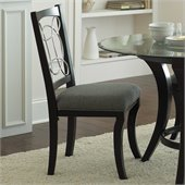 Steve Silver Company Cayman Grey Upholstery Dining Side Chair in Black Finish