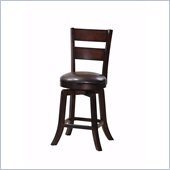 Steve Silver Company Gimlet Brown Upholstery Ladderback Swivel Counter Stool in Espresso