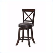 Steve Silver Company Gimlet Dark Brown Upholstery X-Back Swivel Counter Stool in Espresso