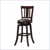 Steve Silver Company Gimlet Brown Upholstery Straight Back Swivel Bar Stool in Espresso