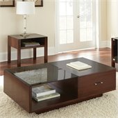 Steve Silver Company Lamar Modern Cocktail Table in Cherry with Glass Insert Top