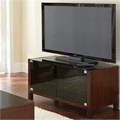 Steve Silver Company Lamar Modern Media Cabinet in Cherry with Glass Dark Doors