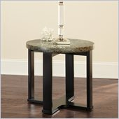 Steve Silver Company Gabriel Green Granite Top End Table with Multi-Step Black Base