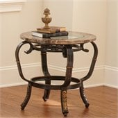 Steve Silver Company Gallinari Brown Marble Veneer End Table with Glass Insert Top
