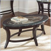 Steve Silver Company Cayman Marble with Glass Cocktail Table in Antiqued Brown