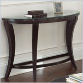 Steve Silver Company Cayman Black and White Marble with Glass Sofa Table in Antiqued Brown
