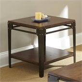 Steve Silver Company Barrett Square End Table in Distressed Tobacco and Antiqued Metal