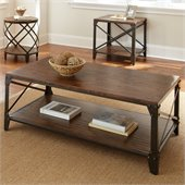 Steve Silver Company Winston Cocktail Table in Distressed Tobacco and Antiqued Metal