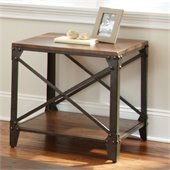 Steve Silver Company Winston Square End Table in Distressed Tobacco and Antiqued Metal