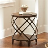 Steve Silver Company Winston Round End Table in Distressed Tobacco and Antiqued Metal