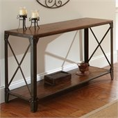 Steve Silver Company Winston Sofa Table in Distressed Tobacco and Antiqued Metal