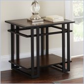 Steve Silver Company Micah End Table in Black Metal and Cherry Finish