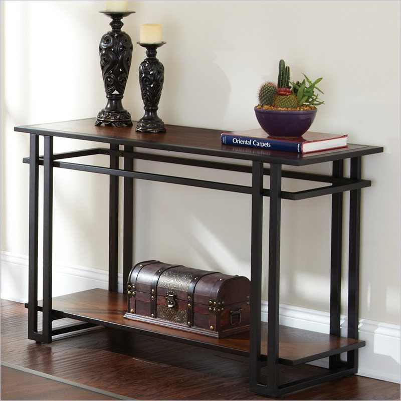 Metal wood sofa table decor pinterest for Metal and wood console tables