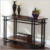 Steve Silver Company Micah Sofa Table in Black Metal and Cherry Finish