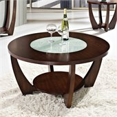 Steve Silver Company Rafael Cocktail Table in Cherry with Cracked Glass Insert