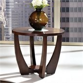 Steve Silver Company Rafael End Table in Cherry with Cracked Glass Insert