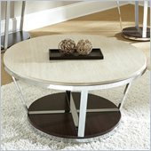 Steve Silver Company Bosco Faux Marble Round Cocktail Table with Casters in Espresso