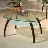 Steve Silver Company Atlantis Cocktail Table in Multi-Step Cherry with Beveled Glass Top