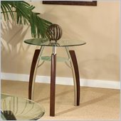Steve Silver Company Atlantis End Table in Multi-Step Cherry with Beveled Glass Top