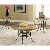 Steve Silver Company Collison 3 Pack Modern Cocktail and End Tables Set with Marble Top