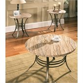 Steve Silver Company Ellen 3 Pack Modern Marble Cocktail and End Tables Set with Glass Top