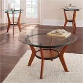 Steve Silver Company Saxony 3 Pack Coctail and End Tables Set in Cherry with Glass Top