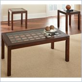 Steve Silver Company Dixon 3 Pack Glass Top Cocktail and End Tables Set in Cherry