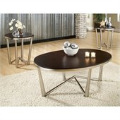 Steve Silver Company Cosmo 3 Pack Modern Cocktail and End Tables Set in Dark Cherry