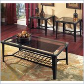Steve Silver Company Emery 3 Pack Black Metal Cocktail and End Tables Set with Glass Top