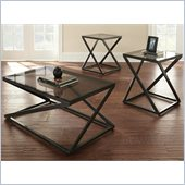 Steve Silver Company Darius 3 Pack Cocktail and End Tables Set in Black Metal