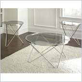 Steve Silver Company Matrix 3 Pack Chrome Cocktail and End Tables Set with Glass Top