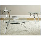 Steve Silver Company Xavier 3 Pack Chrome Round Cocktail and End Tables Set with Glass Top