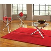 Steve Silver Company Riviera 3 Pack Round Chrome Cocktail and End Tables Set with Glass Top