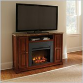 Steve Silver Company Montibello Marble Top Media Fireplace Set in Rich Multi-Step Cherry