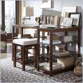 Steve Silver Company Muse Counter Desk and Stool Set in Multi-Step Cherry