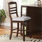 Steve Silver Company Bradford Upholstered Plush White Chenille Counter Chair in Dark Oak