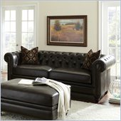 Steve Silver Company Tusconny Leather Sofa in Arkon Bark with Two Accent Pillows