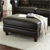 Steve Silver Company Tusconny Leather Ottoman in Arkon Bark