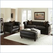 Steve Silver Company Tusconny 3 Piece Grain Leather Sofa Set in Arkon Bark