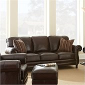 Steve Silver Company Chateau Leather Sofa in Antique Chocolate Brown with 2 Accent Pillows