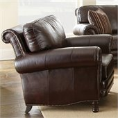 Steve Silver Company Chateau Leather Chair in Antique Chocolate Brown